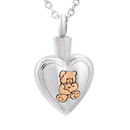 Wholesale human heart halloween - DJX9837 Bear Engraved Heart Stainless Steel Memorial Urn Necklace Loss of Pet Human Casket Keepsake Jewelry for Cremation Ashes Gift