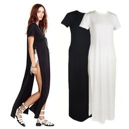 Seksi Siyah Beyaz Kadınlar Elbiseler Yüksek Yan Bölmeleri Maxi Uzun Tee Elbise Rahat Gevşek Clubwear Vestidos nereden