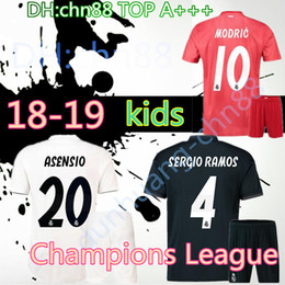 602875b53 best Champions League 18 19 Real Madrid kits kids soccer jerseys Uniforms  sets kids kits 2018 2019 RONALDO JAMES BALE ISCO football shirts