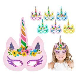 Wholesale dress up masks - Unicorn Maks Party Kids Women Cosplay Mask Kids Boy Birthday Party Dress up Costume Mask Favor Gifts Unicorn Accessories BBA258 60PCS