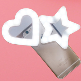 Wholesale heart shaped usbs - USB Charge LED Portable Flash Led Camera Clip-on Mobile phone Ring light video lights Enhancing For Cell Phone Star Heart Shape