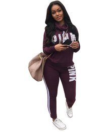 Wholesale Long Sleeve Winter Womens Tops - Womens Tracksuits Winter Autumn Style Sweat Shirt Letter Print Tracksuit Women Long Pants Pullover Tops Womens Set Women Sport Suits
