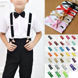 Canada Adjustable Elastic Y-back Boys Girls Suspenders Kids Suspenders Bow Tie Set for 1-10T Baby Braces Children Accessories 32 Colors Offre