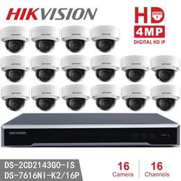 Modelo ds on-line-Hikvision Mais Novo H.265 Câmera IP CCTV Kits 16 pcs DS-2CD2143G0-IS 4MP IR fixo Dome Modelo de Câmera de Rede Substituir DS-2CD2142FWD-IS + Hikvision
