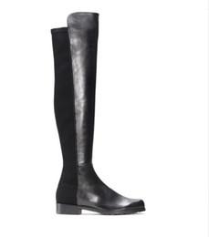 Stivali alti al ginocchio per le donne sottili online-Paris Classic 5050 Elastic Boots Tacco 2,5 cm Donna Autunno e Inverno Nuovi sneakers in pelle con gambe sottili Stivali lunghi e lunghi Bambina
