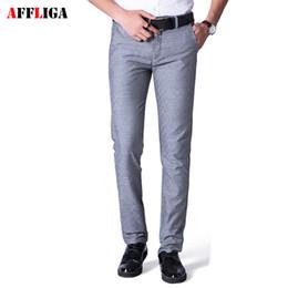 Wholesale Casual Dress Pant Legs - Trousers Male Classic Grey Long Pants Men 2017 New Designer Brand Cotton Straight Leg Stretch Men's Dress Casual Pants Fashion
