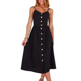 Canada WA006 couleur unie sangle d'été col V robe décontractée simple boutonnage des deux côtés avec poche femme robe midi dos taille élastique vestidos femelle Offre