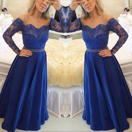 Wholesale Long Body T Shirt Women - 2018 Royal Blue Satin A Line Prom Dresses Lace Peals Body Long Formal Women Evening Party Gowns Zipper Back Vestido De Festa