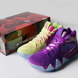 Wholesale Patent Color - (With Box)Free Shipping Kyrie 4 Confetti Multi Color Shoes High Quality Mans Purple Yellow Blue Shoes