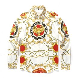 Wholesale Business Products - Hot Products Medusa Men's Fashion Shirt long sleeved,business casual men's shirt 3D Luxury bronzing Flower Print Antique palace stlye design