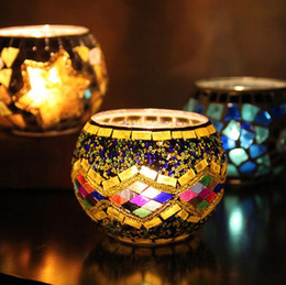 Wholesale Glass Bowls Candle Holders - 18 Styles Spherical Glass Mosaic Crack Candlestick(not include candle) european Candle Holders candlelight dinner Candle Holder