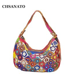 b43e66b753f5 CHSANATO Drop Shipping Classic Real 100% Genuine Leather Bags Women Hobo Patchwork  Flower Colorful Handbags Ladies Tote Bag