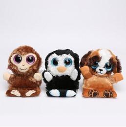Wholesale Big Dog Plush Toys - 11.5cm BIG EYES SERIES Plush Toys Monkey Chimps Penguin Penni Dog Pups Phone Holder Seat Doll Kids Xmas Gifts CCA8662 100pcs