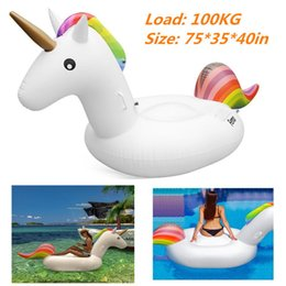 Wholesale Inflatable Beach - Giant Inflatable Unicorn Water Float Raft Summer Sea Swim Pool Lounger Beach Fun water rafts float swimming pool beach toys for adult BBA274