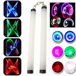Wholesale martial arts toys - Colorful Shock Led Light Nunchakus Glowing Stick Nunchucks Trainning Practice Performance Martial Arts Kong Fu Kids Toy Gifts Stage Props
