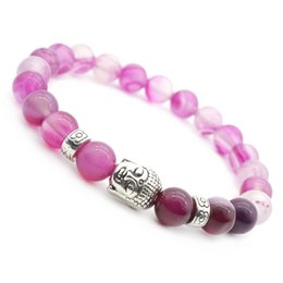 Agata naturale rotonda online-Braccialetti di energia perline con agata rossa e agata rossa Bracciali con perline di pietra naturale Bracciali con perline di 8mm