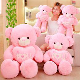 Wholesale Stuffed Love Bear - Plush I Love You Teddy Bear Holding Heart 19.5inch Pink Purple Stuffed Soft Bear Soft Animal Teddy Bear with Heart Toy
