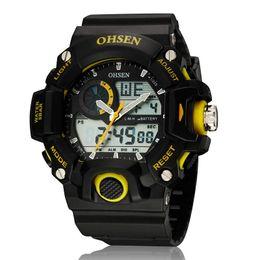 мужские спортивные часы ohsen Скидка Ohsen двойное время Черный резиновая подсветка мужские часы цифровой Спорт водонепроницаемый кварцевые мужские наручные часы 2017 relogio masculino
