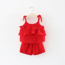 Wholesale Girls Stylish Clothes - Wholesales Girl Summer Stylish Chiffon Camisole Tops and Casual Short Pants Pink Children Clothing Free Shipment