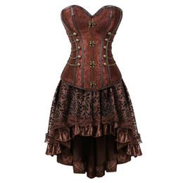2019 robes de brocart Nouvelle arrivée Femmes Steampunk Overbust Corset Dress Vintage Gothique Victorian Brocade Corset Jupe Ensemble Halloween Costume Plus La Taille robes de brocart pas cher