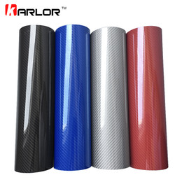 Wholesale Dark Red Vinyl - wholesale Car Styling 50*200cm DIY High Glossy 5D Carbon Fiber Vinyl Wrap Film Motorcyle Automobiles Car Sticker And Decals Accessories