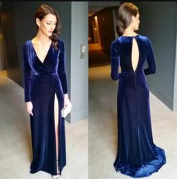 e4ed21be5a153 Navy Blue Thigh-High Slits Evening Dresses Long Sleeve V Neck Sweep Train  Formal Velvet Prom Party Gowns Red Carpet Wear Celebrity Dress black velvet  slit ...