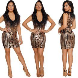 plumes de paillettes Promotion femmes paillettes mini robe pure gland feather cou jupes sexy night club dress