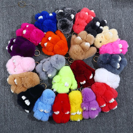 Wholesale trendy backpacks for women - 14CM Fluffy Pompom Fur Rabbit Keychain Multi Colors Car Pendant For Women And Girls Backpack Key Buckle Fashion 7 99zb B