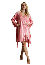 Wholesale Pink Pajama Suit - 2017 Women Nightgown 2 Pieces Sets Robe&Skirt Spring Gowns Suits 2pcs Women Pajama Sets Sleepwear Lady Lounge Nightgowns AU80012