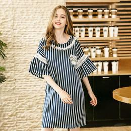 Luxury Summer Flare Sleeve Pajamas Silk Sleep Dress Cat Embroidered Shirt  Dress Lady Satin Nightgown Homewear Pijama Feminino b406fa34c536