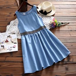 vestido de niña de blue jeans Rebajas MISSFEBPLUM Mori Girl Denim Dress Mujeres 2018 sin mangas de verano Vintage Casual suelta cuello redondo Vestidos Jeans Mini vestidos azules