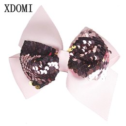 Discount boutique bows for girls - XDOMI Korean Women Shiny Sequin Hair Bows Hairgrips Boutique Handmade Jumbo Bows Hairpins for Girls Dance Party Hair Accessories