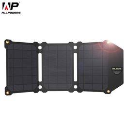 ALLPOWERS 21W Panel solar Células solares Dual USB Cargador solar Baterías Teléfono de carga para Sony iPhone 4 5 6 6s 7 8 X Plus iPad desde fabricantes