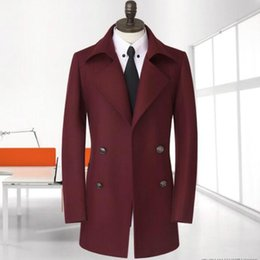 Wholesale Casaco Inverno Masculino - High quality casual woolen coat men double breasted overcoat mens cashmere coat casaco masculino inverno erkek england autumn