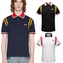 Wholesale Luxury Men Style - Men's casual striped T-shirt 2018 new fashion lapel POLO shirt luxury designer brand embroidery printing cotton high-quality T-shirt