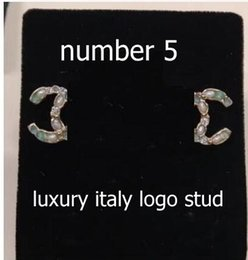 Wholesale Luxury Earings - 32 styles CC luxury style number 5 letter stud earring crystal earings fashion jewelry ear piercing brincos flower number 5 earrings