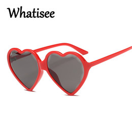 9bbb5d7400 Whatisee Heart Sunglasses Vintage Red Heart Shaped Ladies Sun Glasses Brand  Designer Cute Eyewear Candy Color Womens Shades