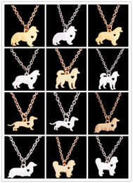 Wholesale Teddy Pendant Chain - Lovely Teddy Dog Pendant Necklace Creative Minimalist Cute Little Animal Dog Necklace Gift for Woman Man Lovers Bijoux