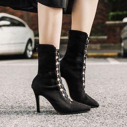 f3ae876b9b5 2018 outono inverno rebanho mulheres sapatos meio tubo botas de salto alto  9.5 CM Black Boots Mulheres Cross Strap Nude Female Pumps