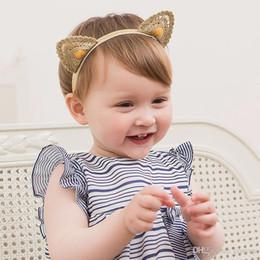 Wholesale lace cat ears - Baby Cat Ears Headbands Lace Elastic Kids Cute Hairbands Head Bands for Girls Headdress Headwear Children Hair Accessories KHA641