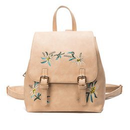 904bda225209 Floral Women Backpacks Female School Bag For Girls Rucksack Small  Embroidery Flowers Bagpack PU Leather Vintage Backpack