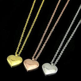 brand gold necklaces Coupons - Famous brand Top quality 316L Titanium steel pendant snake G necklace with enamel heart shape in many colors fashion jewelry