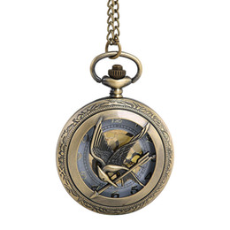 Wholesale Vintage Male Watches - 2018 NEW Bird and Arrow Pocket watch Vintage Gold Dial Clock Watch male Retro Quartz with Necklace Chain relogio#1D