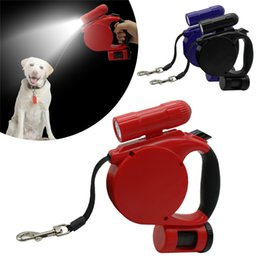 Discount small white led battery - 5M Retractable Extending Dog Leash With Waste Bags & LED Light Flashlight For Small To Medium Dogs Up to 50lbs Q0447