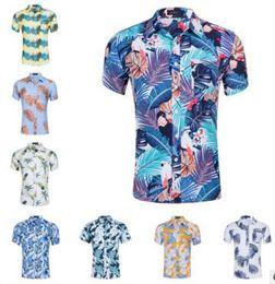 Diseño de la camiseta del polo online-27 diseños !!! Camiseta de los hombres de playa de verano de manga corta de algodón estilo tropical de vacaciones de impresión floral camisetas polos camisas polos de manga corta camisas