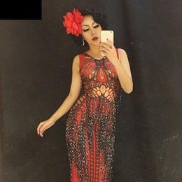 traje de mariposa negro Rebajas Bar DJ DS Disfraces Sexy Red Butterfly Black Tassels Vestido Largo Anfitrión Singer Stage Performance Vestido de una pieza Fiesta Show Vestidos