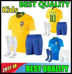 Wholesale Boys 18 - 2018 World Cup NEYMAR JR Brazil kids Soccer Jersey G.JESUS P.COUTINHO MARCELO RONALDINHO DAVID LUIZ 18 19 Brazil Children Football Jerseys