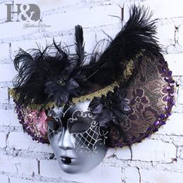 Plumas de la mascarilla completa online-HD Elegante Sombrero de Pluma Negro Cara Completa Máscara Veneciana Fiesta de Halloween Mascarada Máscaras Italia Señora Máscara Regalos del Favor de partido