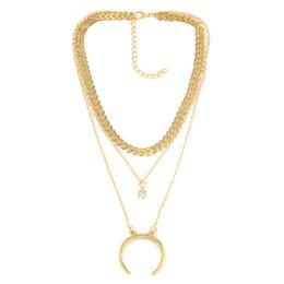 Wholesale 3 couches chaîne collier argent or ton corne croissant lune collier Boho bijoux minimal collier ras du cou copine cadeaux en gros