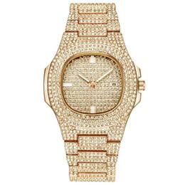 Date de la montre de strass en Ligne-2019 Nouveau De Luxe Femmes Montre Diamants Quartz Dame En Acier Inoxydable Montres Strass Or Rose Montres Horloge Cadeaux Relogio Feminino